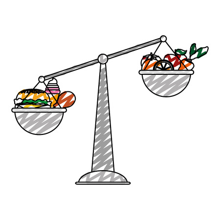 Doodle scale balance object with healthy and unhealthy food.