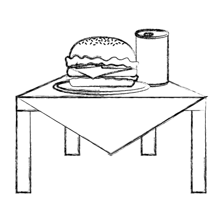 grunge unhealthy hamburger and soda fastfood in the table vector illustration
