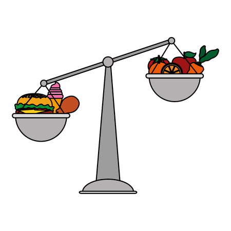 Colored scale balance object with healthy and unhealthy food.