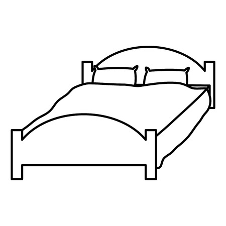 line comfortable bed with pillows object to sleep vector illustration