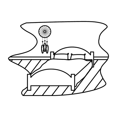 Line comfortable bed with pillow object and dream catcher. Illustration