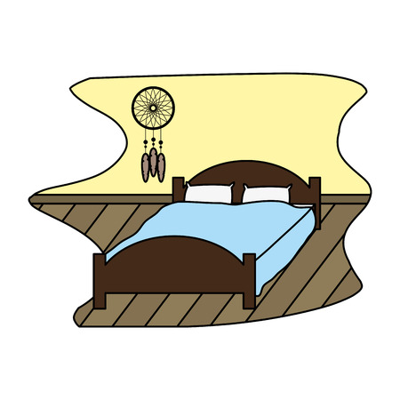 Color comfortable bed with pillow object Stock Vector - 100544448