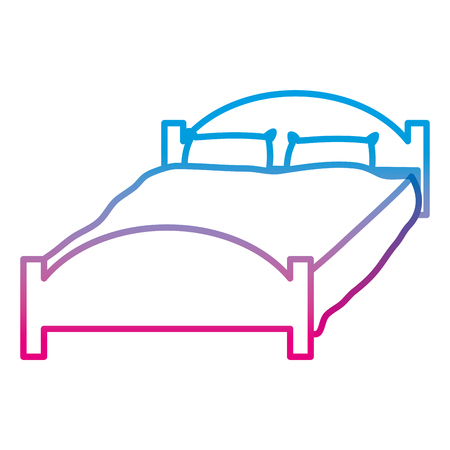 Degraded line comfortable bed with pillows object to sleep