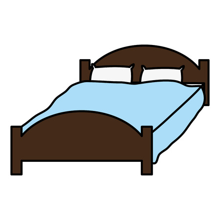 color comfortable bed with pillows object to sleep vector illustration
