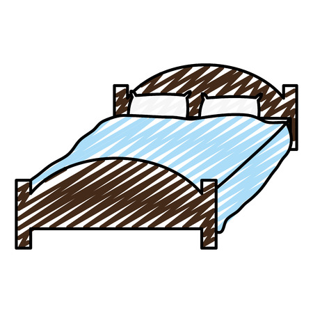 Doodle comfortable bed with pillows