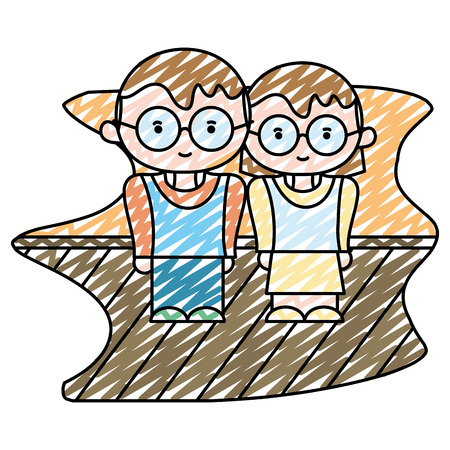 doodle boy and girl together with glasses and clothes vector illustration