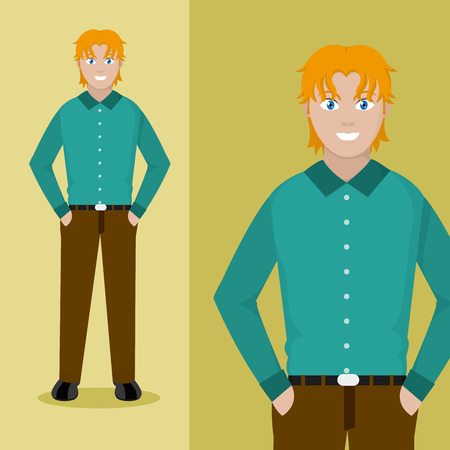 Young man cartoon posing vector illustration.