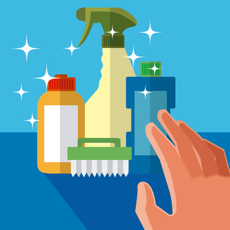 Hand grabbing cleaning products