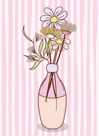 Bouquet of flowers in mason jar vase Stock Vector - 100582280