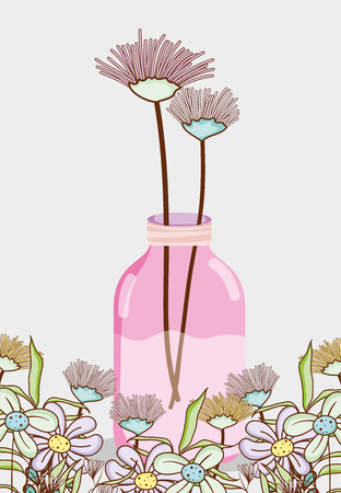 Bouquet of flowers in mason jar vase Illustration