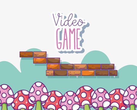 Retro videogame scenery cartoons concept vector illustration graphic design