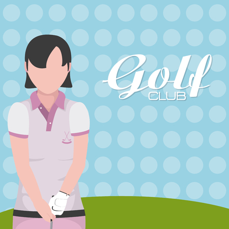 Golf player with club on camp cartoon vector illustration graphic design Vectores