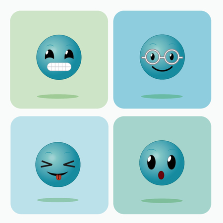 Set of emojis on squares icons collection vector illustration graphic design