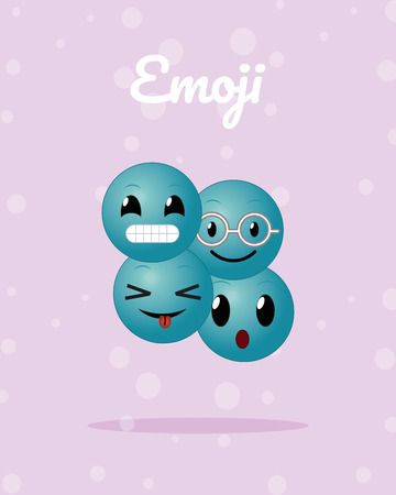 Cute rounds emojis cartoons over pastel color background vector illustration graphic design