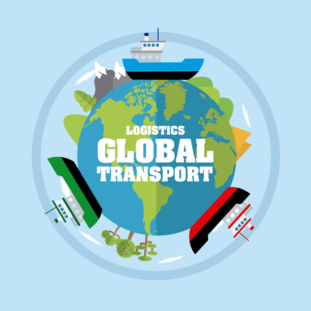 Logistic global transport concept vector illustration