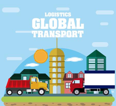 Logistic global transport concept vector illustration