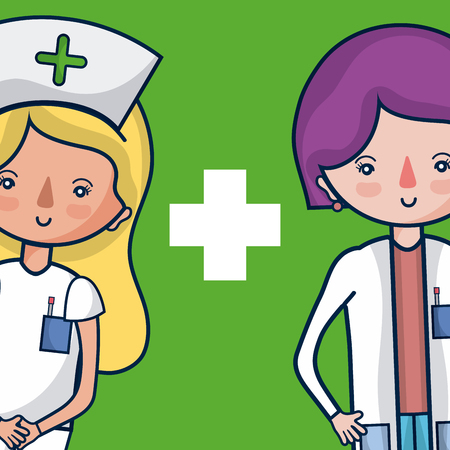 Cute female medical team cartoon
