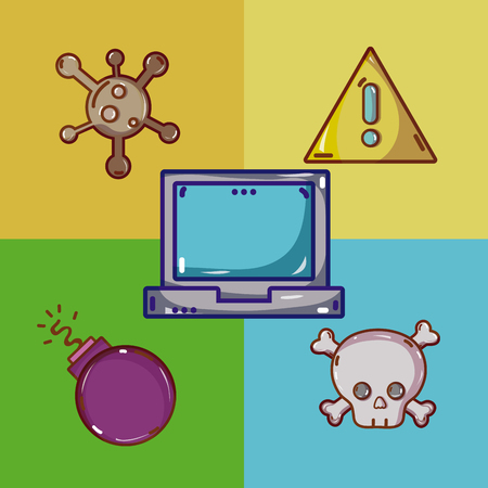Set of virus and cybercrime cartoons Иллюстрация
