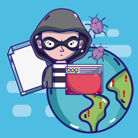 Hacker around the world Иллюстрация