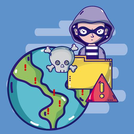 Hacker around the world Illustration