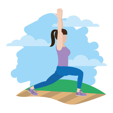 woman with hands up and lunges each leg in the landscape Illustration