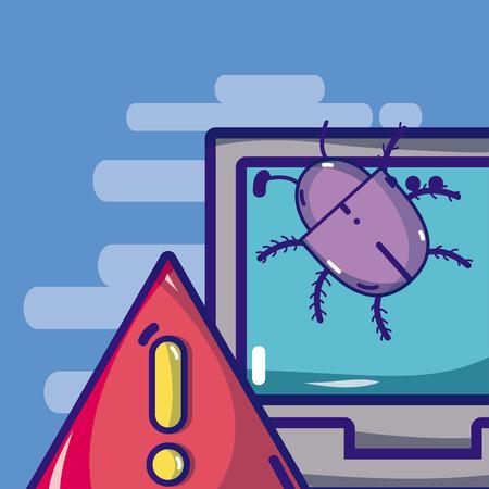 Virus and cybercrime concept Stock Illustratie