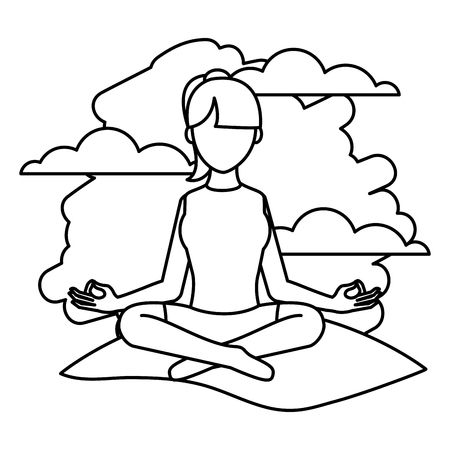 Line woman sitting yoga position in the landscape