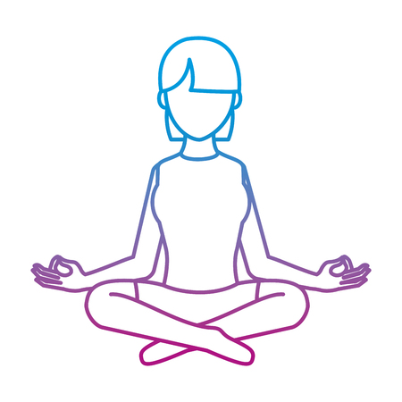 Degraded line woman sitting with yoga relaxation position Vectores