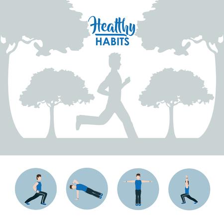 Healthy habits lifestyle vector illustration. Ilustração