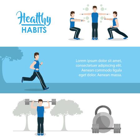 Healthy habits info-graphic vector illustration.