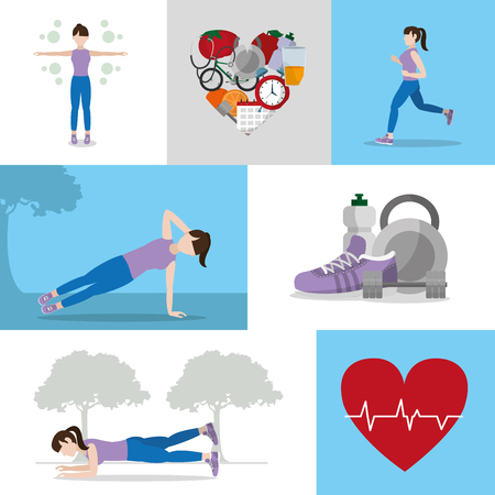 Healthy habits lifestyle vector illustration. 向量圖像