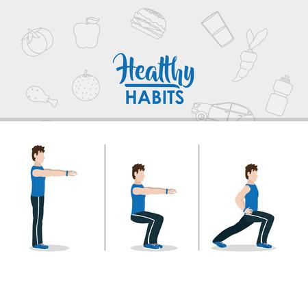 Man doing exercise cartoon concept vector illustration graphic design