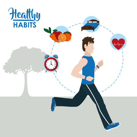 Male with healthy habits cartoon concept vector illustration graphic design