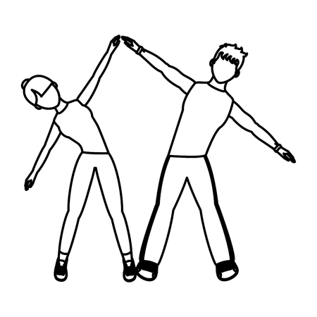 Line woman and man sport exercise training