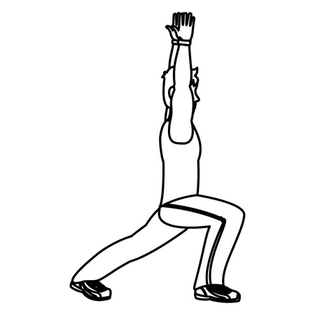 line fitness man with hands up and lunges each leg vector illustration Illustration