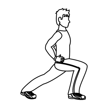 line fitness man lunges each leg training vector illustration