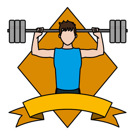 color man lifting weights emblem with ribbon vector illustration Vettoriali