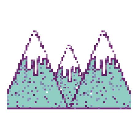 Pixel snowy mountains