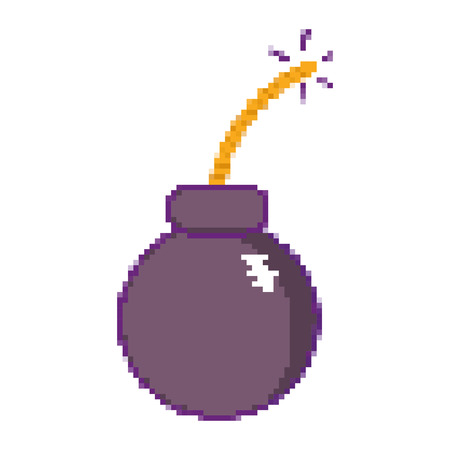 pixel bomb explosion game weapon Illustration