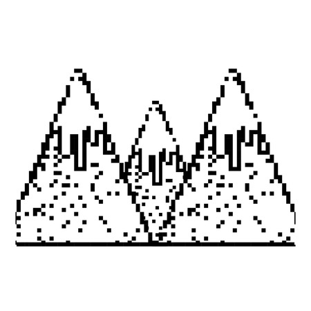 grunge pixel snowy mountains game cold weather Stock Illustratie