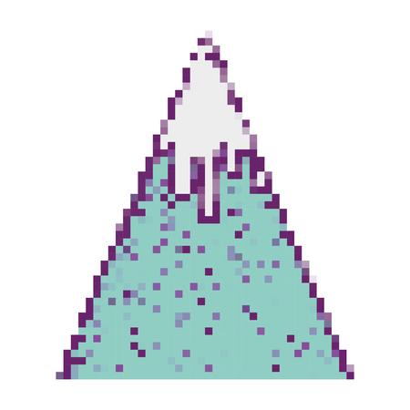 pixel snowy mountain game weather Stockfoto - 100864105