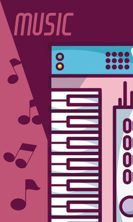 Modern keyboard modern music equipment 矢量图像