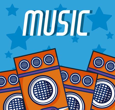 Party speakers modern music equipment Ilustração