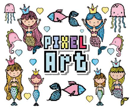 Pixel art cute mermaids and aquatics cartoons vector illustration graphic design