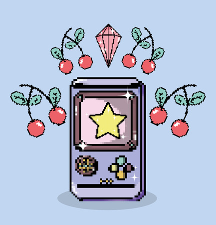 Pixel art tetris videogame cartoons vector illustration graphic design Illustration