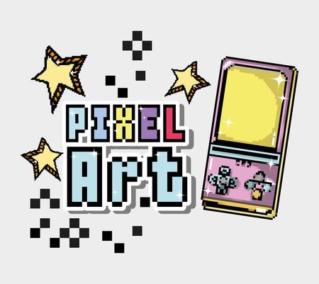 Pixel art cartoon with tetris and stars vector illustration graphic design