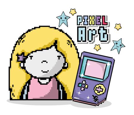 Pixel art cartoon with girl and tetris vector illustration graphic design