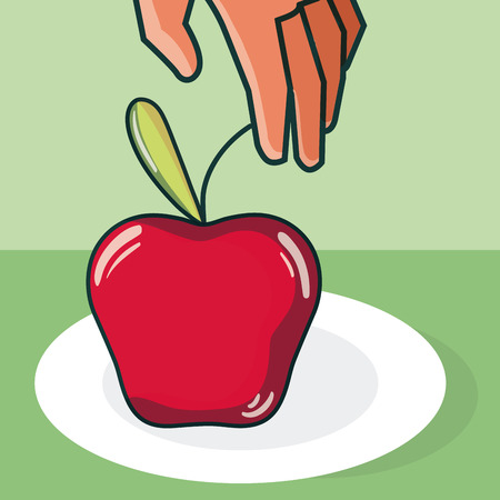 Hand grabbing apple from dish vector illustration graphic design