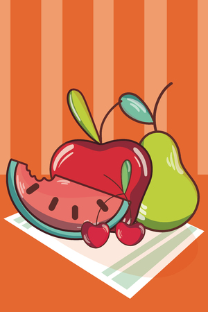 Fruits on tablecloth cartoons concept over striped colorful background vector illustration