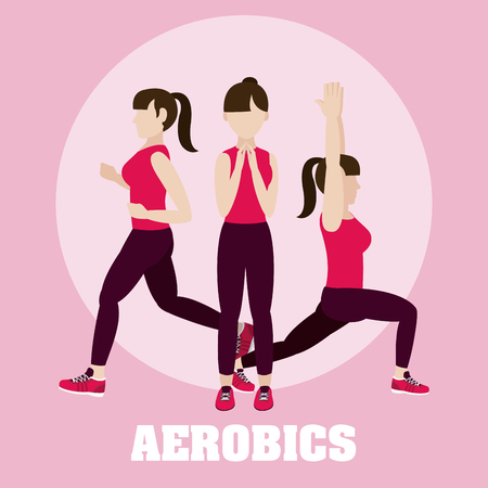 Woman and aerobics cartoons vector illustration graphic design